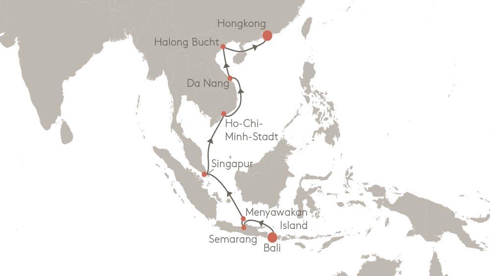 Reiseroute von Hongkong nach Bali